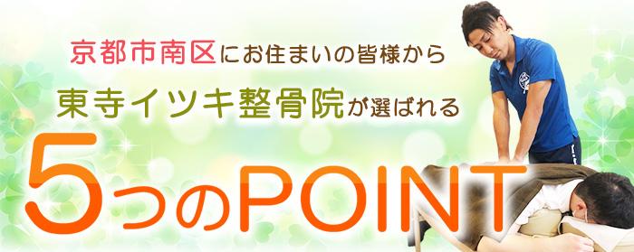 京都市南区にある東寺イツキ整骨院が選ばれる5つのポイント